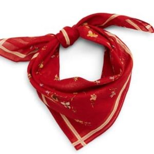 Madewell   Red Floral Neck Scarf Bandana One Size